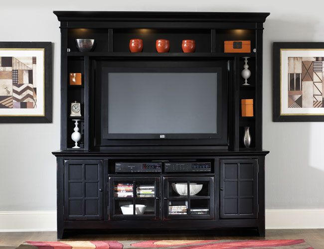 THE FURNITURE :: Flat-Screen TV Designed Black Entertainment Center, 'New Generation' Collection by Liberty Furniture. FREE SHIPPING