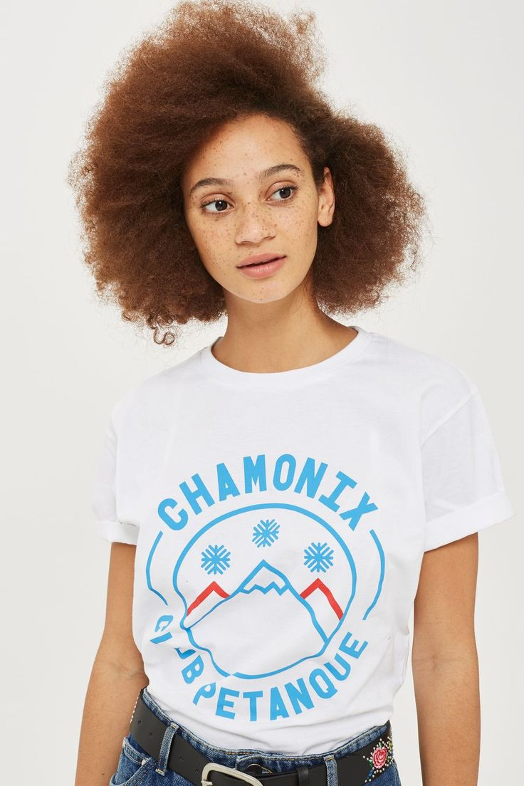 Get ready for winter with this white Chamonix t-shirt by Club Petanque.