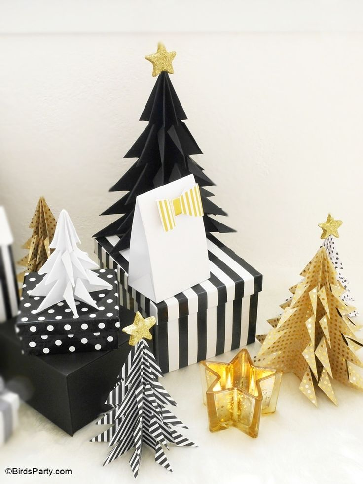 DIY Origami Paper Christmas Trees - learn to craft these decorations for your Holiday and Christmas tables or Holiday winter parties centerpiece!