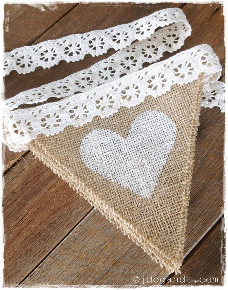 BURLAP HESSIAN CROCHET LACE BUNTING COUNTRY VINTAGE RUSTIC SHABBY CHIC WEDDING