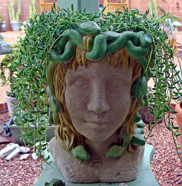 84 best head planters and pots images on pinterest - Medusa head planter ...