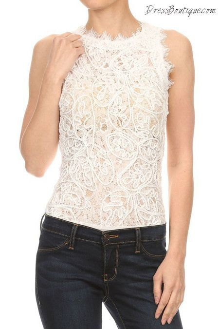 Chic White Lace Bodysuit.