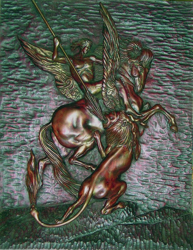 """J. M. Félix Magdalena.- """"BELEROFONTE Y LA QUIMERA"""", Relieve tallado en madera de bubinga, 60 por 50 y por 7 cm."""