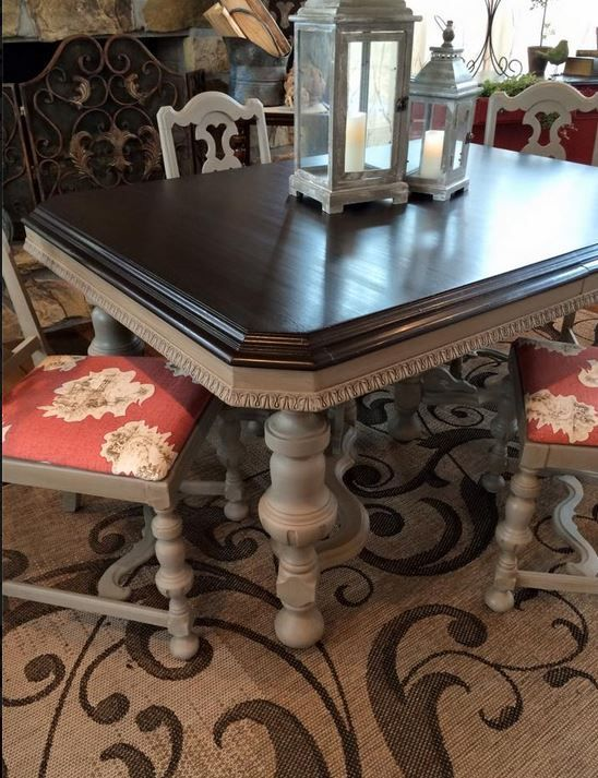 French Linen Chalk Paint® & Java Gel….a match made in heaven! We are loving this dining set that was done by Retique 2 Chic, Inc.!  The wood was mahogany, so a coat of clear Shellac went over the whol