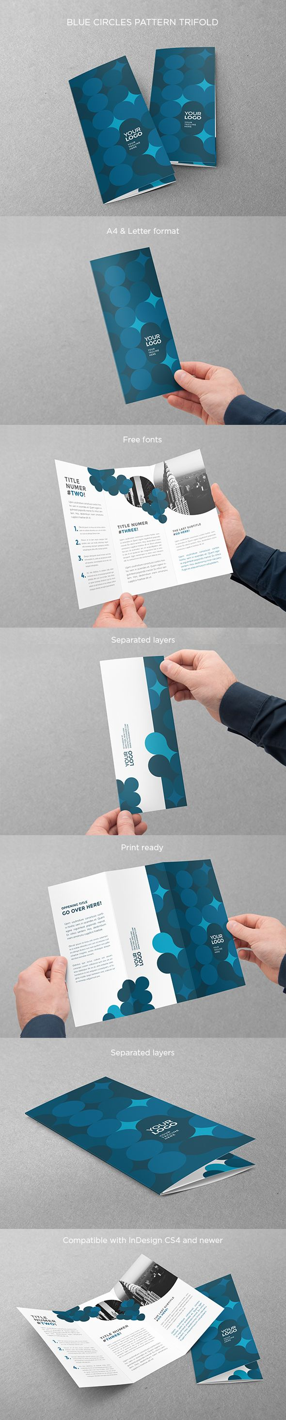 Blue Circles Pattern Trifold. Download here: http://graphicriver.net/item/blue-circles-pattern-trifold/13529822?ref=abradesign