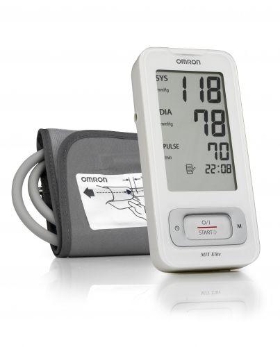 """Az OMRON MIT Elite felkaros vérnyomásmérő teljesen automatizált, amely az oszcillometria alapelvére építve működik. Gyorsan és egyszerűen méri a vérnyomást és a pulzusszámot. A felfúvás kényelmes szabályozhatósága érdekében a nyomás előzetes beállítása vagy az újbóli felfúvás szükségessége nélkül a készülék a fejlett """"Intellisense"""" technológiát használja.  A karcsú forma, könnyű hordozhatóságot biztosít az otthoni és professzionális vérnyomásmérés területén."""