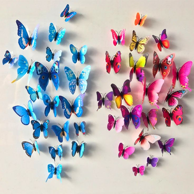 12 шт./лот ПВХ бабочки наклейки 3D стены наклейки home decor плакат для детей номеров клей к стене украшения Adesivo де Parede купить на AliExpress