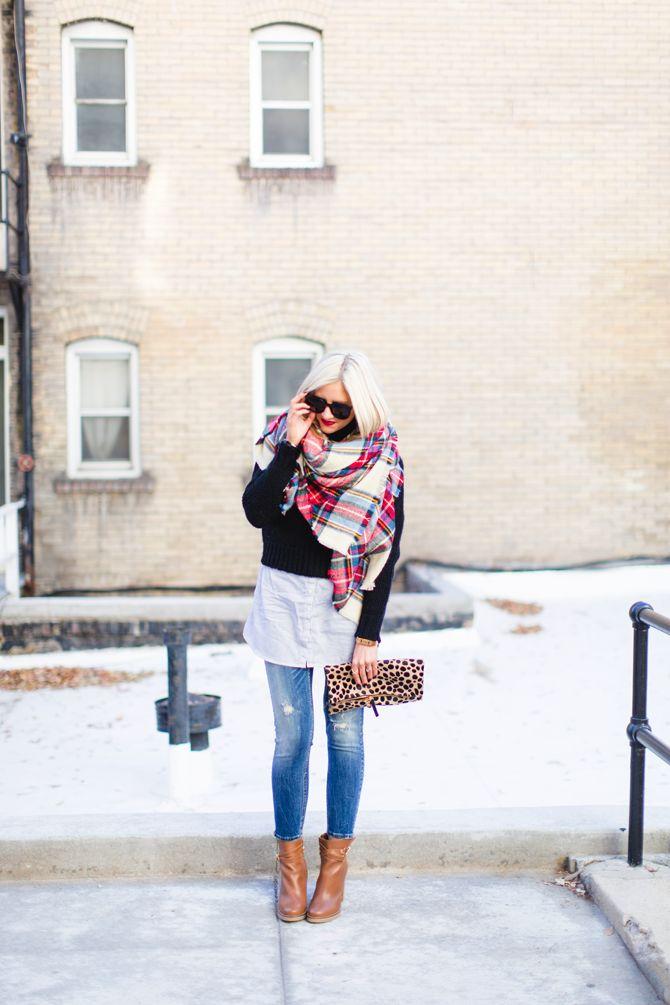 12.14 on repeat (ASOS blanket scarf + J Crew turtleneck sweater + H&M tunic + Zara jeans + Duo Boots + Clare Vivier clutch + Karen Walker sunnies + MAC 'russian red' lips) <<Little Miss Fearless