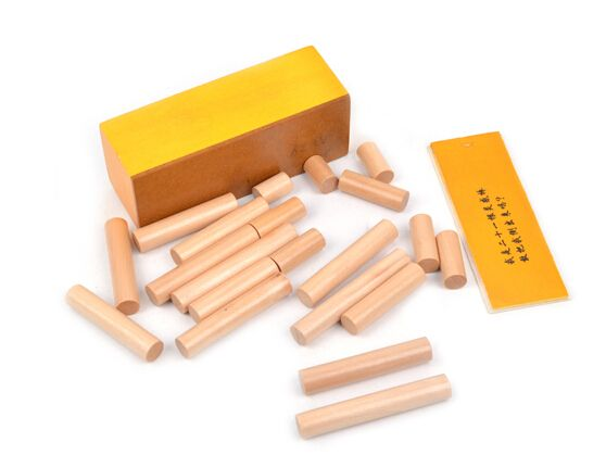 Candice guo Montessori Wooden toy wood block Intelligence game how put 21pcs stick into box birthday gift christmas present set