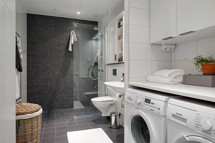 Bathroom with laundry bathroom with white and grey for Combined laundry bathroom ideas