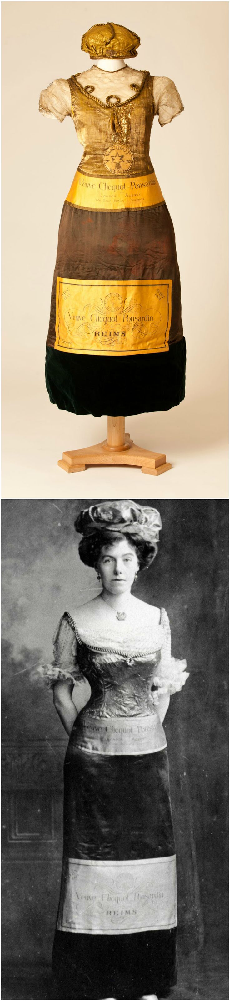 Champagne bottle dress worn by an unknown lady at a fancy dress party in 1902. Photos courtesy of Fashion Museum, Bath & North East Somerset Council, via The Huffington Post (Top) & @Fashion_Museum on Twitter (Bottom).