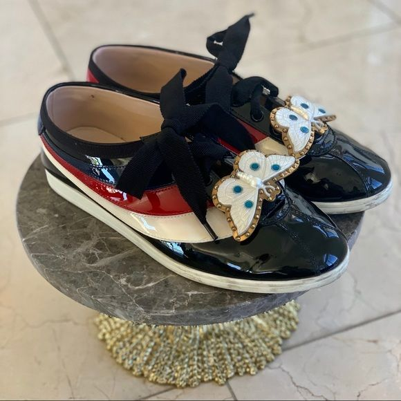 Gucci Black Falacer Butterfly Sneakers