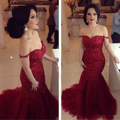 Off-shoulder mermaid prom dresses,red sequin shiny evening dresses