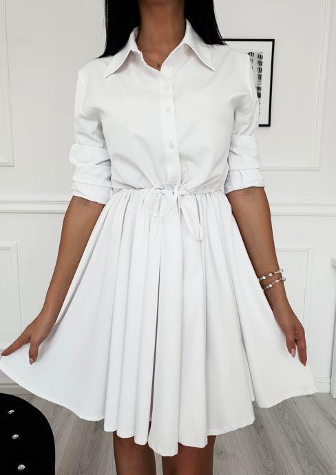 4603420c32 Rozkloszowana sukienka z koszulową górą - Biała