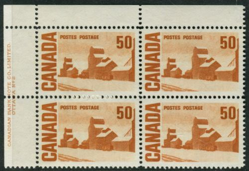 465Aiv-50c-Brown-Orange-LF-fl-PVA-Plate-2-UL-Block-VFNH