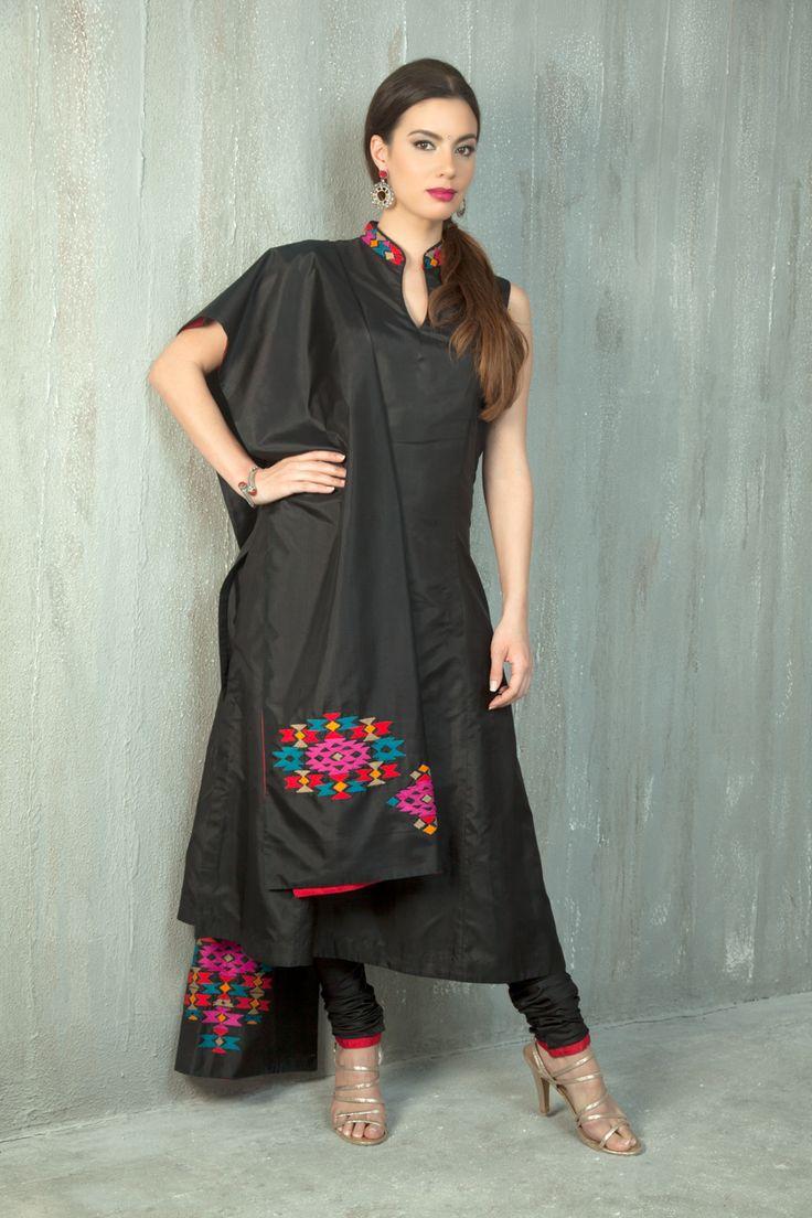 Silk churidar kurta churidar and dupatta embellished with anchor resham work