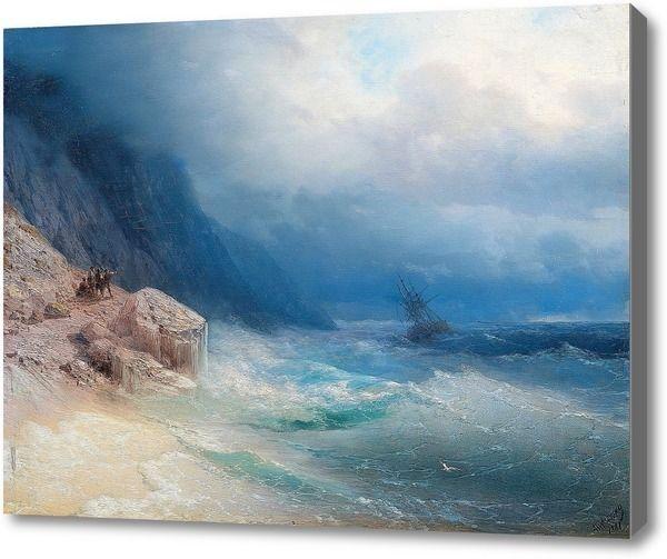 "Репродукция картины ""Шторм на море"". Картина маслом на холсте ""Шторм на море"""
