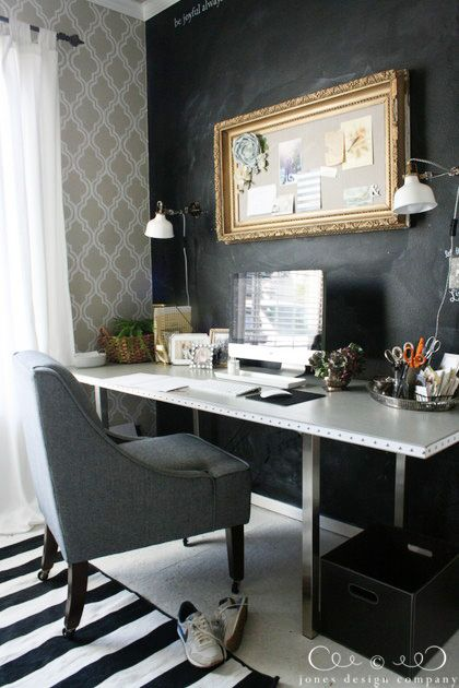 Loving Jones Design Company's office space! The black and the gold is so on point! #FindingFallHomeTour