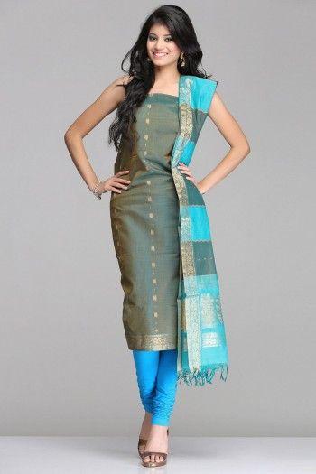 Stunning Moss Green & Blue Kora Silk Unstitched Suit With Striped Pattern & Gold Zari Floral Vine Pattern