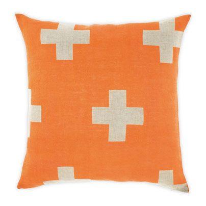 Crosses Cushion in Orange Poppy 50cm | Aura Home