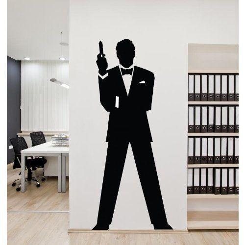 James Bond Vinyl Wall Stickers Decals Removable Decor DIY Mural Art Gun Home