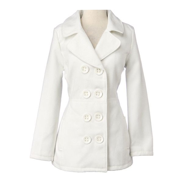 Double Breasted Solid Wool Peacoat with Pop Lining ❤ liked on Polyvore featuring outerwear, coats, jackets, women, pea coat, double breasted peacoat, white peacoat, lined pea coat and double breasted wool peacoat
