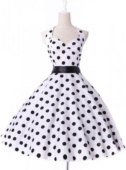 Bílé retro šaty s puntíky CL4599 - 0