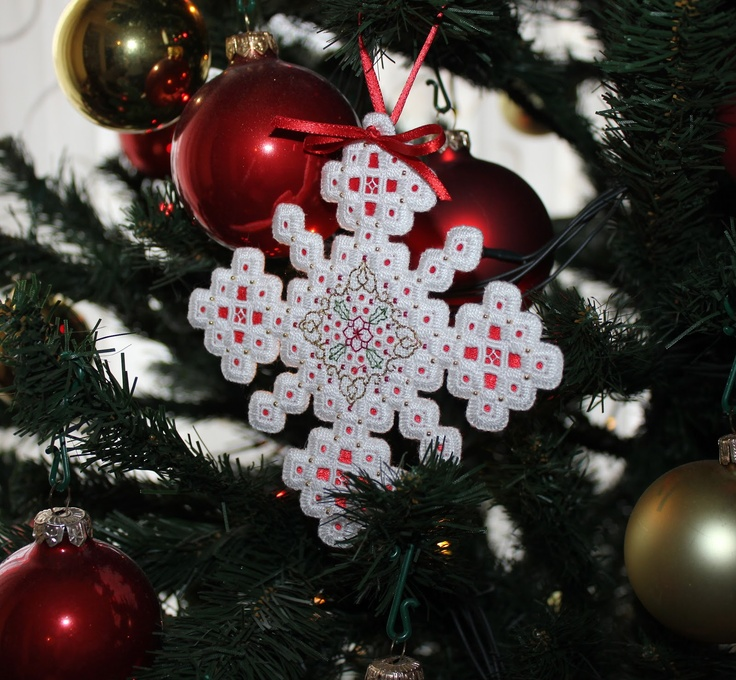 Humming Needles: Hardanger Christmas Ornament