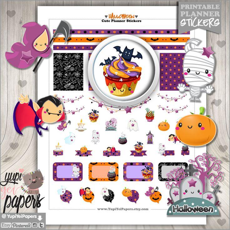 Halloween Stickers, Planner Stickers, Printable Stickers, Kawaii Stickers, Planner Accessories, Pumpkin, Halloween Celebration, Erin Condren