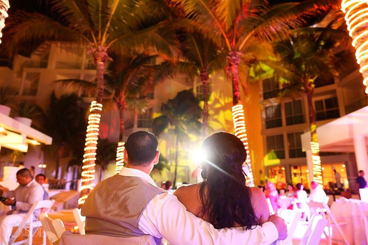 Beach wedding reception at the Playacar Palace, Playa del Carmen, Riviera Maya.  Mexico wedding photographers Del Sol Photography