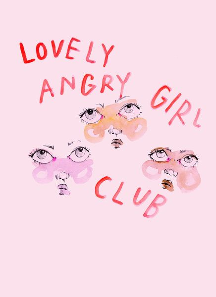 Lovely angry girl club Art Print