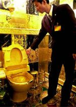 World's Most Expensive Toilet, around $5 million. This 24k gold toilet is a feature of Hang Fung jeweler's solid gold bathroom in Hong Kong. The company had the toilet made when gold was merely $200/ounce and planned to melt it down if gold ever reached $1,000 per ounce. When the price of gold neared the $1,000 mark in early 2008, however, the company stated that they would not have it melted down. One ton of the golden bathroom accessories surrounding the toilet would be melted down…