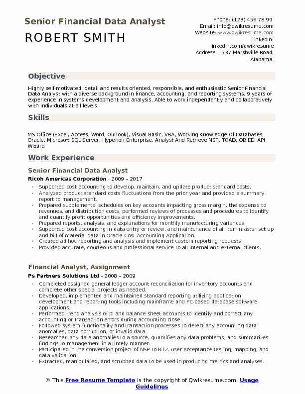 Data Analyst Resume Examples Inspirational Financial Data Analyst Resume Samples In 2020 Resume Examples Teacher Resume Template Customer Service Resume