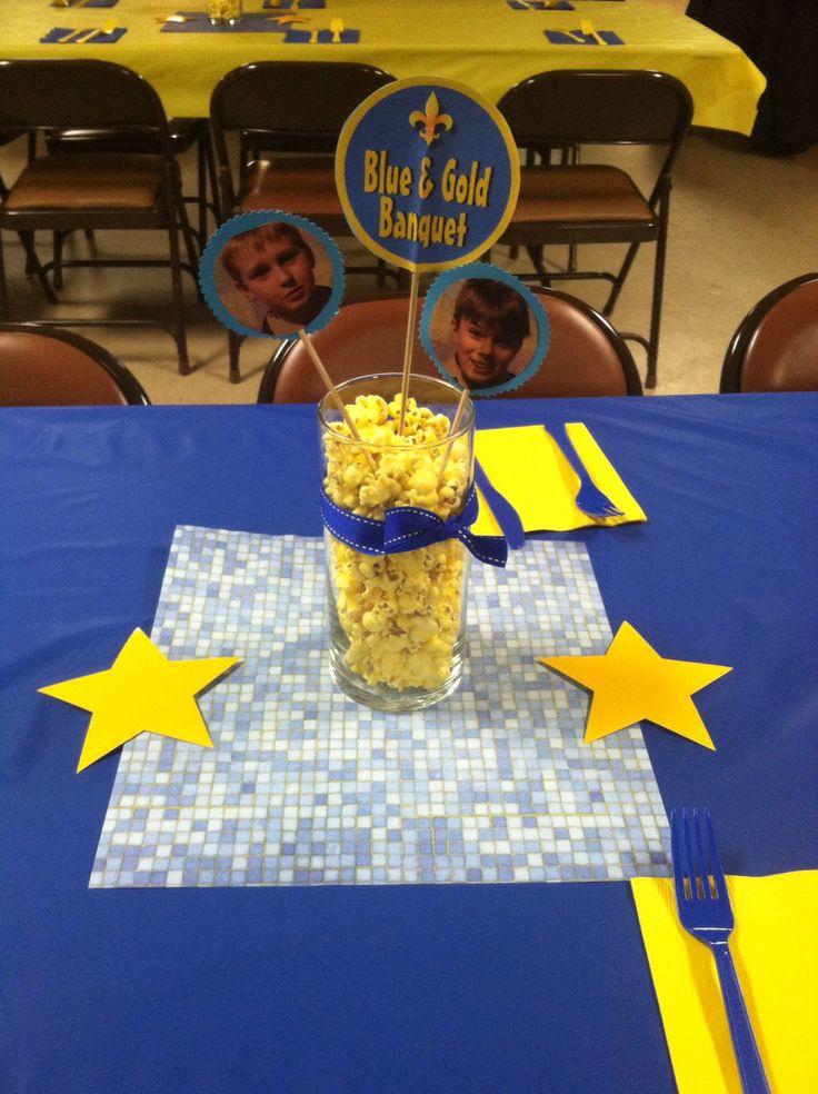Blue gold boy scout centerpiece diy crafts