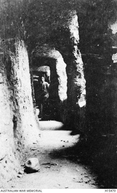 WWI, Gallipoli. Turkey. 1915. The interior of an area known as the Galleries at Lone Pine.
