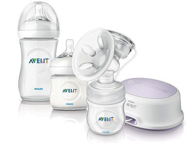 Electronic breast pump and baby bottles.