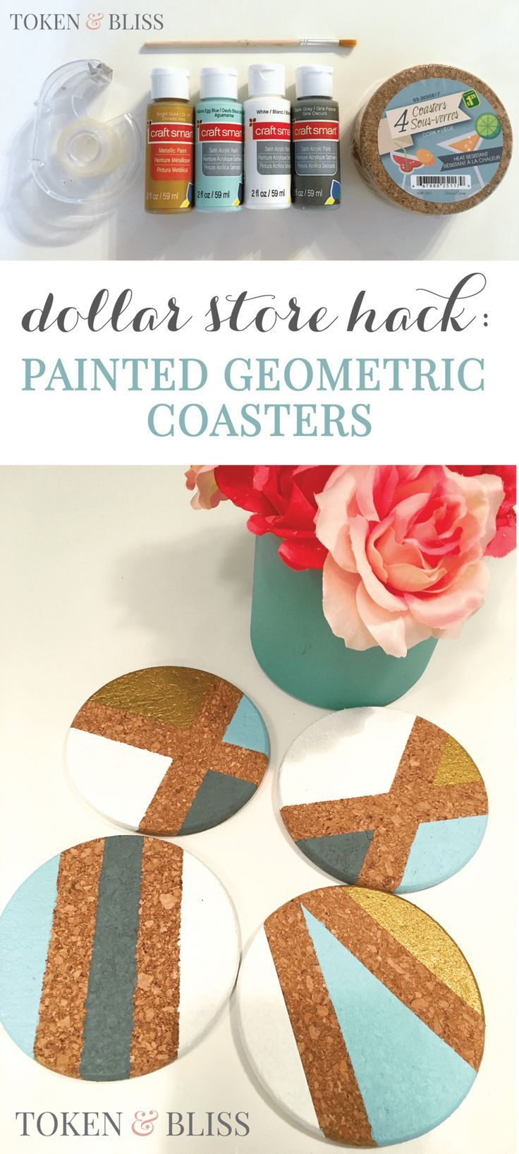 Dollar Store Hack Diy Painted Geometric Cork Coasters Pinterest