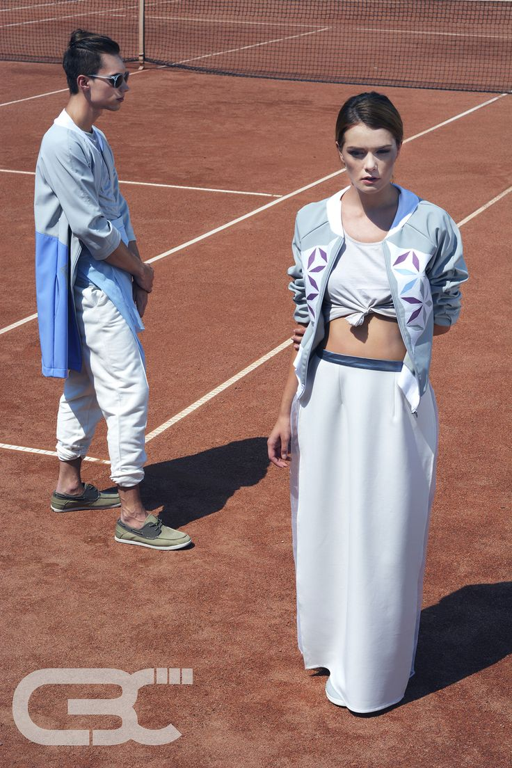 Tennis court, sport, sportswear, fitness, trends, unisex, campaign photos, blue grey jacket, white pants, maxi white skirt, grey bomber jacket, white top. Order via facebook, pm or e-mail.