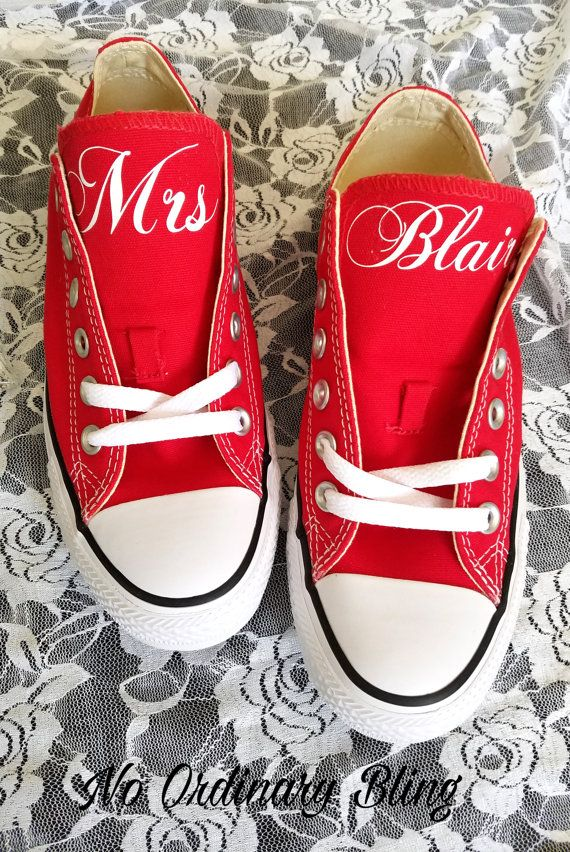 Custom Wedding Converse Red Tongues by NoOrdinaryBling on Etsy