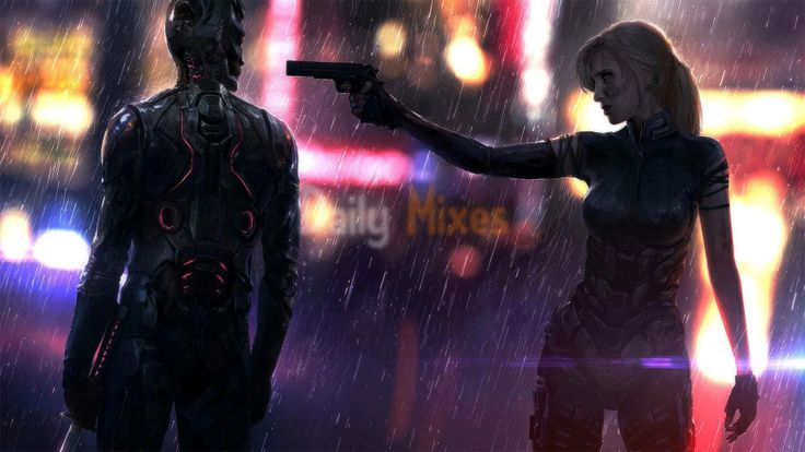 This work by concept artist Jonas Dero reminds me of the Cyberpunk 2077 trailer, thoiugh very different in many ways.
