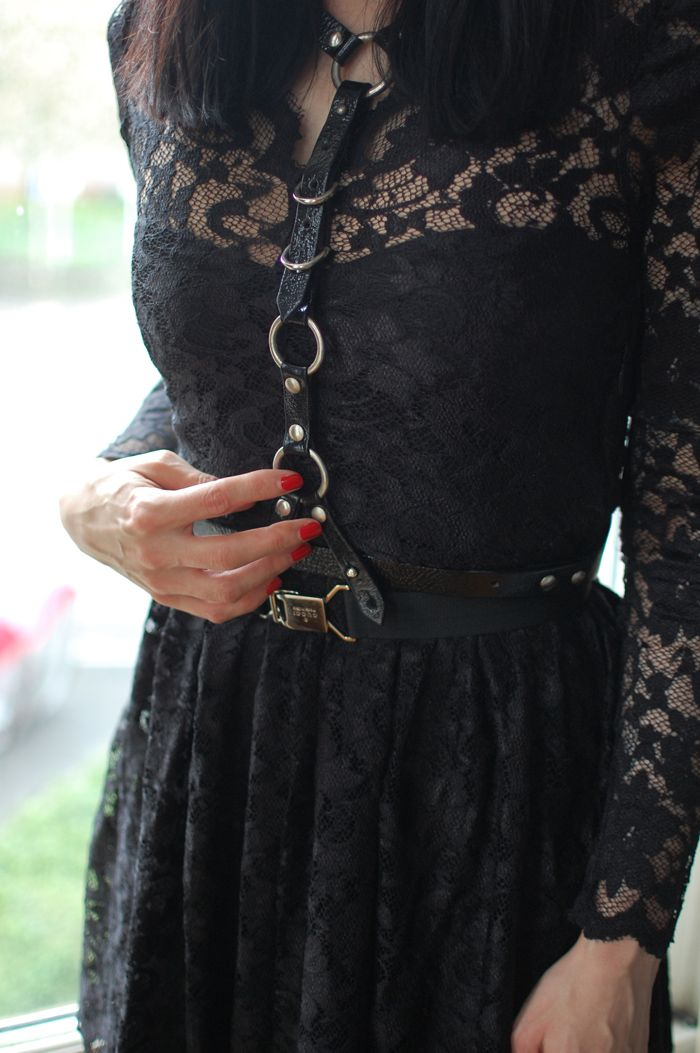 I love me a lace dress, I love me a leather harness. Add em together instant magic