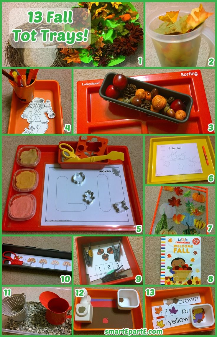 13 fall themed tot trays and activities! Thanks to @thisreadingmama for the awesome Fall Pack!