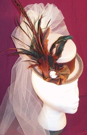 z SOLD - Ladies' Petite Victorian Top Hat - Neutral-Bronze-Brown with Colorful Feathers