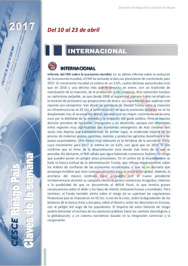 Resumen de las noticias internacionales más destacadas del 10 al 23 de abril de 2017, elaborado por el departamento de Riesgo País de CESCE.