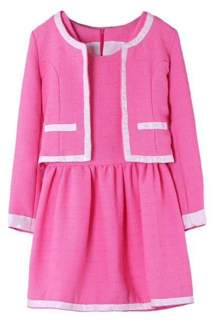 ROMWE | Retro Style Pink Dress Set, The Latest Street Fashion