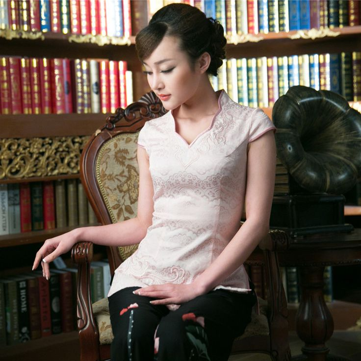 Appealing Open Neck Qipao Cheomgsam Shirt - Pink - Chinese Shirts & Blouses - Women