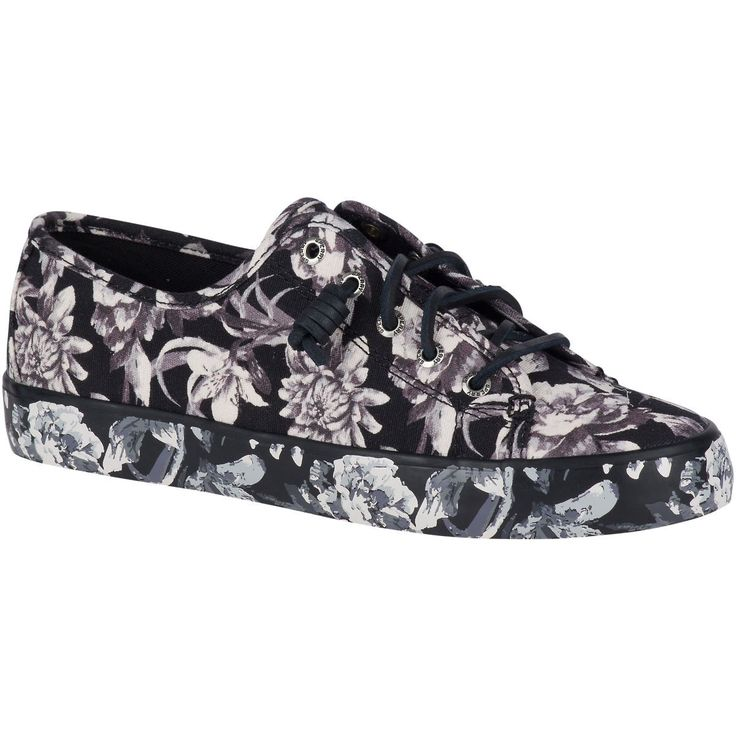SPERRY Women's Seacoast Flooded Floral Sneaker - Black/White. #sperry #shoes #