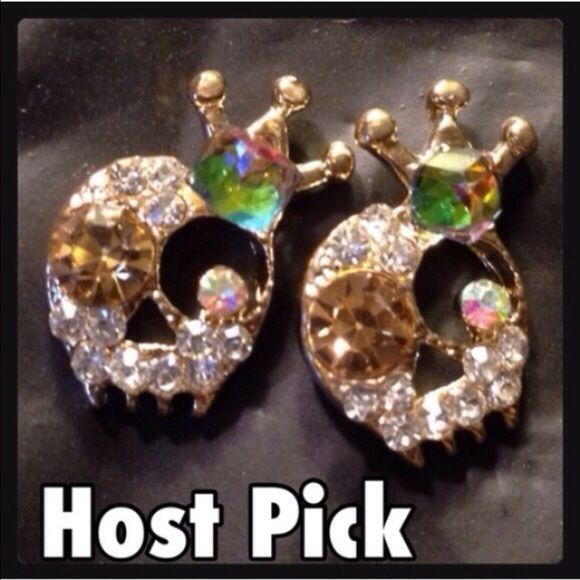 Skull Earrings Super cute and sparkly skull earrings! Lots of bling! New in package. Zinc alloy metal. Jewelry Earrings
