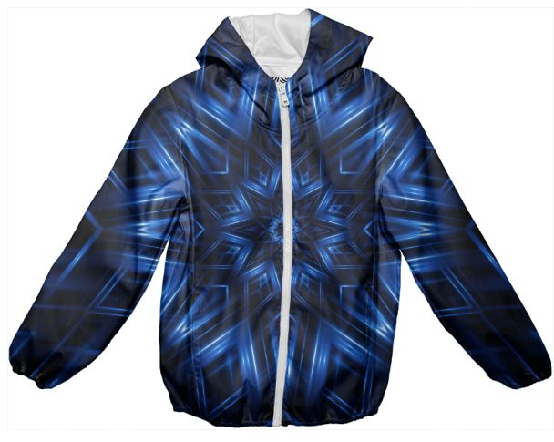 Glossy Blue Kaleidoscope Kids Rain Jacket from PAOM