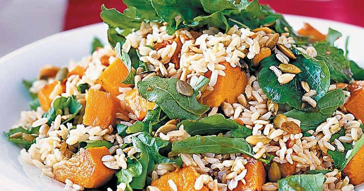 Pumpkin,  brown rice and seed salad.